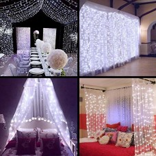 Curtain Lights - SurLight 9.8ft*9.8ft 306LEDs Window Icicle Lights with 8 Lighting Modes, Christmas LED String Fairy Lights for Christmas Wedding V...