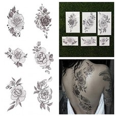 Tattify Floral Temporary Tattoos - A Rose by Any Other Name (Complete Set of 12 Tattoos - 2 of each Style) - Individual Styles Available - Premium ...