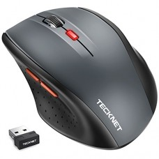 TeckNet Classic 2.4G Portable Optical Wireless Mouse with USB Nano Receiver for Notebook,PC,Laptop,Computer,6 Buttons,18 Months Battery Life,2400 D...