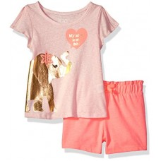 The Children's Place Baby Big Girls' Top and Shorts Set, Pink 86846, 4T