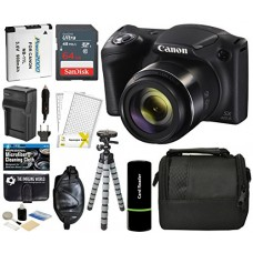 Canon PowerShot SX420 IS Digital Camera (Black) with 20MP, 42x Optical Zoom, 720p HD Video & Built-In Wi-Fi + 64GB Card + Reader + Grip + Spare Bat...