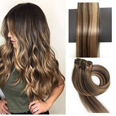 TheFashionWay Brazilian Human Hair Extensions Clip in Silky Straight Weft Remy Hair (18 inches, #4-27)