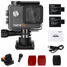 "ThiEYE i60e 4K Wifi Action Camera 2"" HD Screen 197FT Waterproof Video Sport Cam 170 Wide Angle APP Control with Full Accessories Black"