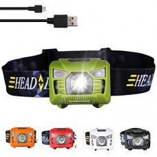 Three trees Sensor Brightest LED -With Red Light Rechargeable Headlamp Flashlight for Kids Men and Women ,Waterproof Perfect for Running, Walking ,...