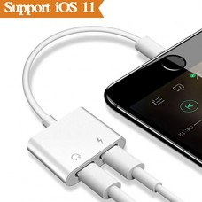 THYTOB 2 in 1 Lightning Adapter Headphone for iPhone X 8/8 7/7 Plus.Phone Accessories Aux Audio Headphone and Charge Cable Splitter.Dual Lightning ...