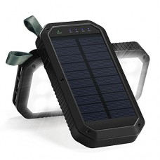 Solar Charger, 8000mAh 3-Port USB and 21LED Light Solar Power Bank Portable Battery Cellphone Charger, Solar Panel for Emergency Outdoor Camping Hi...