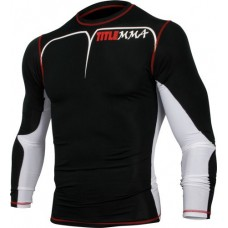 TITLE MMA Quad-Flex Adversary Long Sleeve Rash Guard, Black/White, XX-Large