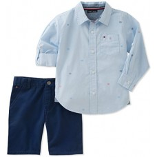 Tommy Hilfiger Baby Boys 2 Pieces Long Sleeves Shirt Shorts Set, Blue/Navy, 3-6 Months