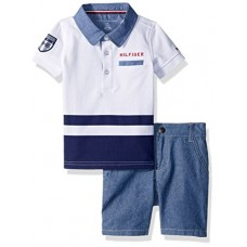 Tommy Hilfiger Baby Boys 2 Pieces Polo Shorts Set, White, 18M