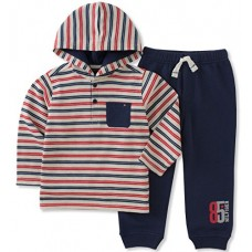 Tommy Hilfiger Baby Boys' Thermal Pant Set, Red/Navy/Oatmeal, 3-6 Months
