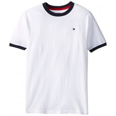 Tommy Hilfiger Big Boys' Core Crew Neck Ken Tee, Classic White, Small (8/10)