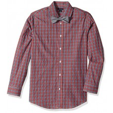 Tommy Hilfiger Big Boys' Long Sleeve Stretch Dress Shirt with Bow Tie, Red, 20