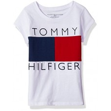 Tommy Hilfiger Big Girls' Pieced Flag Tee, White/Red/Blue, Medium