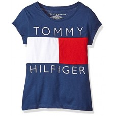 Tommy Hilfiger Big Girls' Tee, Flag Blue/Red/White, Medium