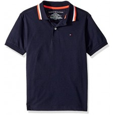 Tommy Hilfiger Little Boys' Short Sleeve Performance Polo with Tipped Collar, Swim Navy, 5