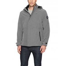 Tommy Hilfiger Men's 3-in-1 Soft Shell Jacket with Hooded Fleece Insert, Heather Grey, Small