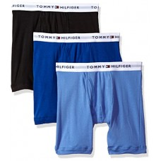 Tommy Hilfiger Men's 3-Pack Cotton Boxer Brief, Ink Blue, Large