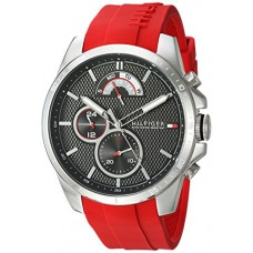 Tommy Hilfiger Men's 'Cool Sport' Quartz Stainless Steel and Silicone Casual Watch, Color Red (Model: 1791351)