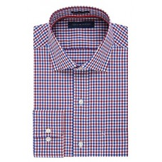 "Tommy Hilfiger Men's Non Iron Regular Fit Check Spread Collar Dress Shirt, Rouge, 16.5"" Neck 32""-33"" Sleeve"
