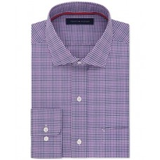 "Tommy Hilfiger Men's Non Iron Regular Fit Multi Check Spread Collar Dress Shirt, Bright Violet, 15.5"" Neck 34""-35"" Sleeve"