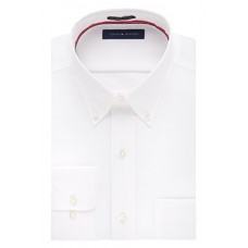 "Tommy Hilfiger Men's Non Iron Regular Fit Solid Button Down Collar Dress Shirt, White, 16.5"" Neck 34""-35"" Sleeve"