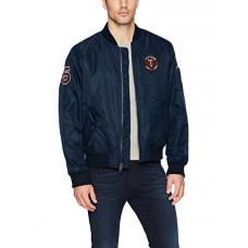 Tommy Hilfiger Men's Retro Varsity Letterman's Bomber Jacket, Navy, Large