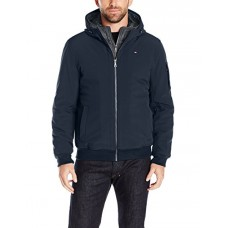 Tommy Hilfiger Men's Soft Shell Fashion Bomber With Contrast Bib and Hood, Midnight/Heather Charcoal, XX-Large
