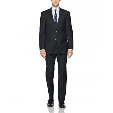 Tommy Hilfiger Men's Wool Stretch Ready To Wear Suit With Hemmed Pant, Solid Charcoal, 44R