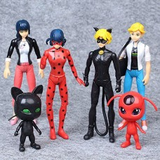 Miraculous Ladybug 6 PCS Action Figure Tikki Noir Cat Plagg Adrien Toys Gifts US