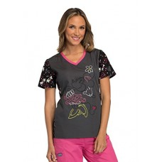 Tooniforms Cherokee Women's V-Neck Knit Panel Minnie Mouse Print Scrub Top Medium Print