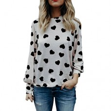 2018 Women Love Printing Valentine's Day Gift Long Sleeve Crop Jumper Pullover Tops by Topunder