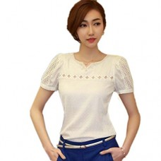 Blouses,Toraway Women Lace Summer Shirt V Neck Doll Chiffon Blouse Tops (Large)