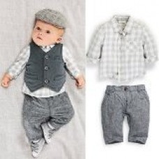 Touchme New Newborn Baby Boy Grey Waistcoat + Pants + Shirts Clothes Sets Suit 3pcs (fit 85-95cm baby)