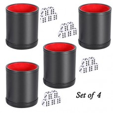 Set of 4 Professional Deluxe Dice Cups, includes 5 Dice in each Cup by TradingBuzz