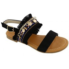 Best Annie Black Gladiator Round Toe Slip On Flat Low Heel Cut Out Open Toe Roman Ankle Side Strap Buckle Shoe Soft colorful Top Prime Sandal Easte...