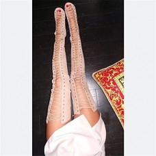 TraveT Sexy High Heels Gladiator Shoes Woman Peep Toe Lace Up Thigh High Boots Summer Cut Outs Over The Knee Sandal
