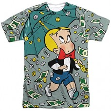Trevco Men's Richie Rich Double Sided Print Sublimated T-Shirt, Rain White, Large