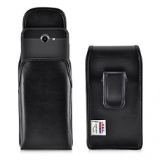 Samsung Galaxy J7 Holster fits phone with SLIM Case Made in USA, Turtleback Vertical Samsung Galaxy J7 2017 Prime, Perx, Halo Belt Case, Black Leat...