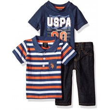 U.S. Polo Assn. Baby Boys' Polo, T-Shirt and Pant Set, Indigo Blue Heather, 3/6 Months
