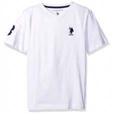 U.S. Polo Assn. Big Boys' Solid V-Neck T-Shirt With Large Embroidered Logo, White/Marina Blue, 10/12
