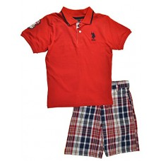 U.S. Polo Assn. Little Boys 2 Piece Big Pony Solid Pique Polo Shirt and Plaid Short, Red, 6