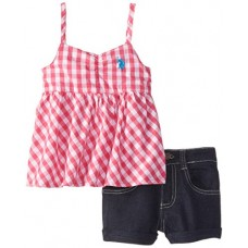 U.S. POLO ASSN. Little Girls' Baby Doll Top with Denim Shorts, Pink, 5