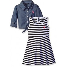 U.S. Polo Assn. Little Girls' Striped Knit Skater Dress with Chambray Shirt-Jack, Black, 6