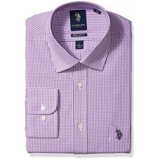"U.S. Polo Assn. Men's Regular Fit Check Semi Spread Collar Dress Shirt, Gingham Check Purple/White, 18""-18.5"" Neck 36""-37"" Sleeve"