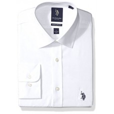 "U.S. Polo Assn. Men's Regular Fit Solid Semi Spread Collar Dress Shirt, Solid Broadcloth White, 16.5"" Neck 32""-33"" Sleeve"