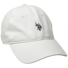 U.S. Polo Assn. Men's Small Solid Horse Adjustable Cap, White, One Size