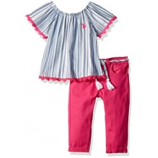U.S. Polo Assn. Toddler Girls' Fashion Top and Legging Set, Woven Stripe Pleasant Top Twill Pant Multi, 4T
