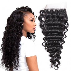 Brazilian Deep Wave Lace Closure Human Hair 3 Part 8A Grade 4x4 10inch 100% Brazilian Virgin Hair Deep Wave Top Lace Closure With Baby Hair Natural...