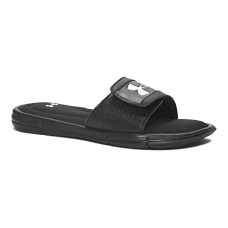 Under Armour Boys' Ignite V Slide, Black/White, 5 M US Big Kid