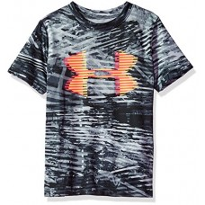 Under Armour Boys' Tech Big Logo Printed T-Shirt, Overcast Gray (942)/Glow Orange, Youth Large